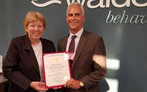 Waltham Mayor Jeannette A. McCarthy and Walden President and CEO Stuart Koman, PhD